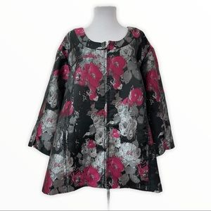 Maggie Barnes Suit Blazer Jacket Full Zip Floral
